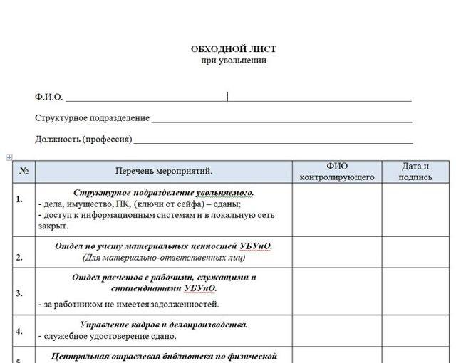 Обходной лист при увольнении - образец