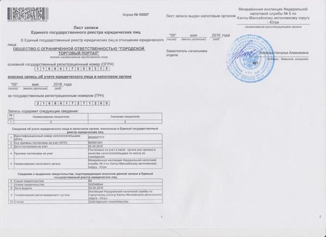 Лист записи ЕГРИП и свидетельство о регистрации ИП