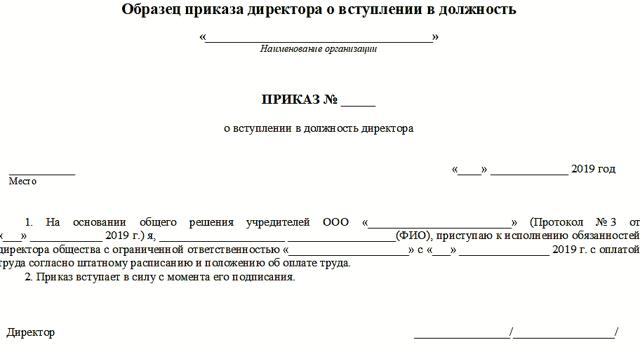 Комментарий 6264 к статье: Назначение директора ООО в 2015 г. (образец приказа)