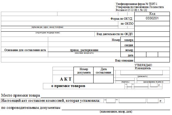 Акт приема-передачи товара - образец