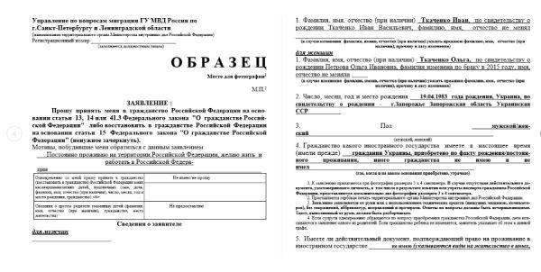 Бланк заявления на гражданство РФ