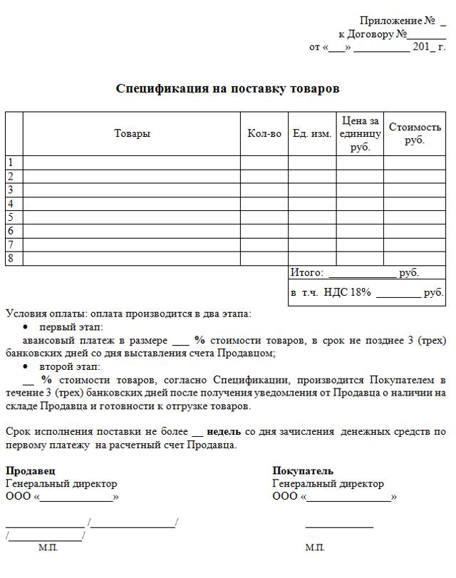 Приложение к договору поставки: образец спецификации