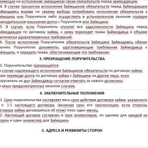 Образец договора поручительства физлица