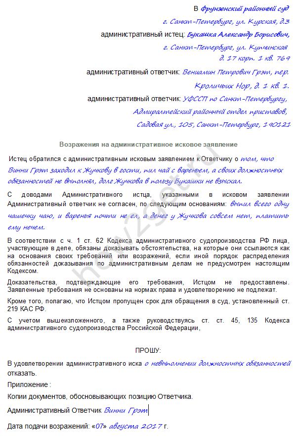 Возражение на административное исковое заявление