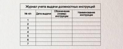 Образец журнала выдачи должностных инструкций