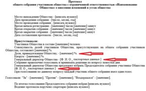 Образец протокола о внесении изменений в устав